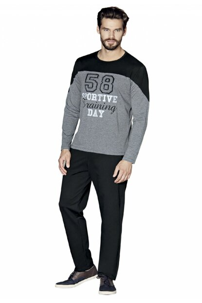 Men's Gray Long Sleeve Pajama Set P50231S5481