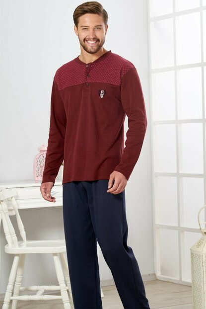 Men's Burgundy Interlock Pajama Set 19412