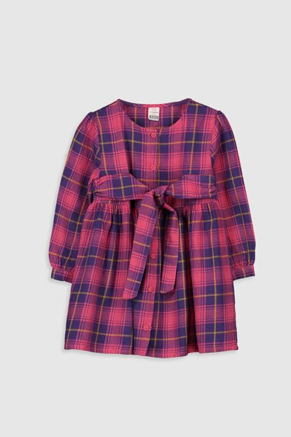 Baby Girl Dark Pink Plaid Lnn Dress 9WV434Z1