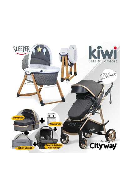 Kiwi 6 IN 1 Newborn Set City Way Baby Stroller and Sleeper Rocking Crib - Black KW-6-N-1-YNDGN-SY
