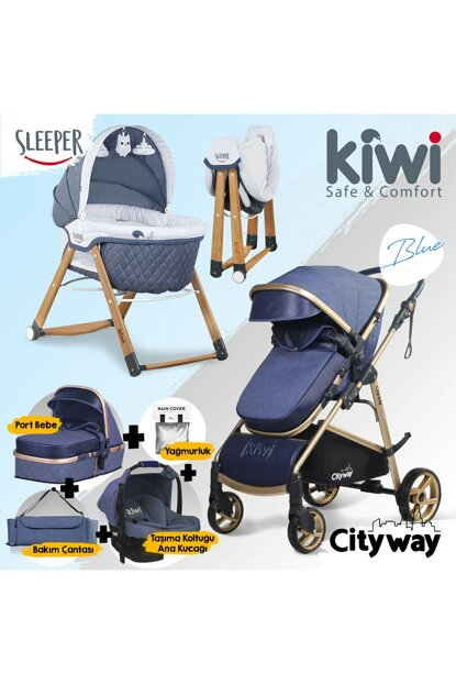 Kiwi 6 IN 1 Newborn Set City Way Baby Stroller and Sleeper Rockable Crib - Navy Blue KW-6-N-1-YNDGN-LC