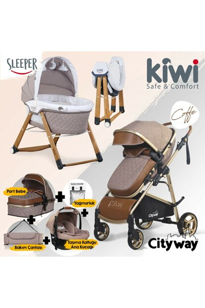 Kiwi 6 IN 1 Newborn Set City Way Baby Stroller and Sleeper Rockable Crib - Brown KW-6-N-1-YNDGN-KH