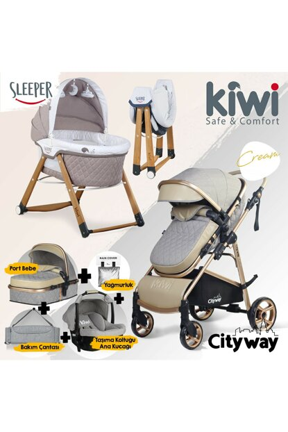 Kiwi 6 IN 1 Newborn Set City Way Baby Stroller and Sleeper Rockable Crib - Beige KW-6-N-1-YNDGN-BEIGE