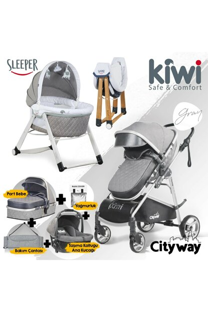 Kiwi 6 IN 1 Newborn Set City Way Baby Stroller and Sleeper Rocking Crib - Gray KW-6-N-1-YNDGN-GR