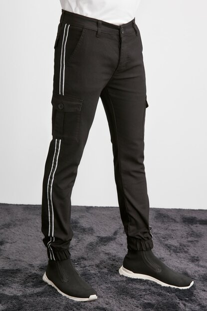 Black Mens Side Stripe Cargo Jogger Pants TMNAW20PL0634