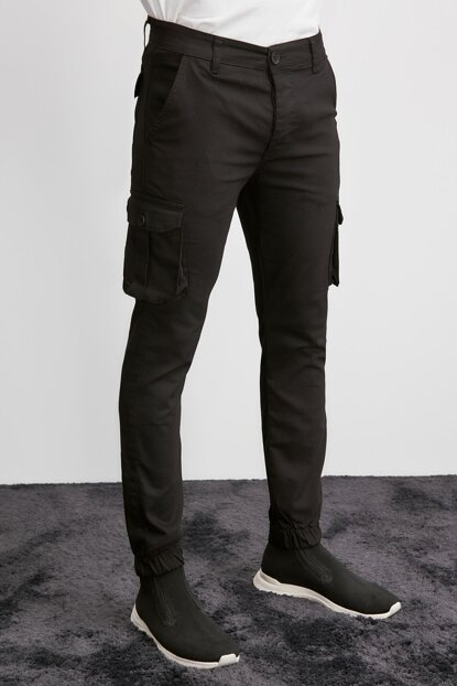 Black Mens Cargo Jogger Pants TMNAW20PL0633