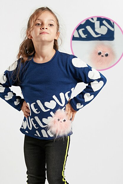 Pompon Girl Sweater with Heart CFF-19S1-017
