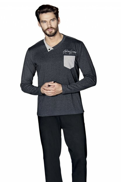 Men's Gray Long Sleeve Pajama Set 5369 5369-