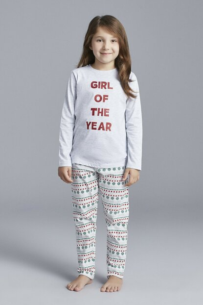 Girl's Light Gray Year Pajama Set PNCORKCE19SK-LGY