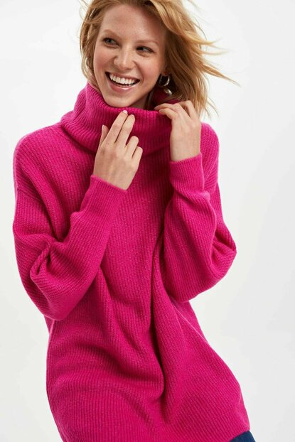Women's Pink Turtleneck Sweater Tunic J2247AZ.19WN.PN535