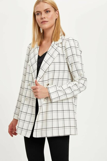 Women's White Plaid Blazer Jacket M8322AZ.19WN.WT20