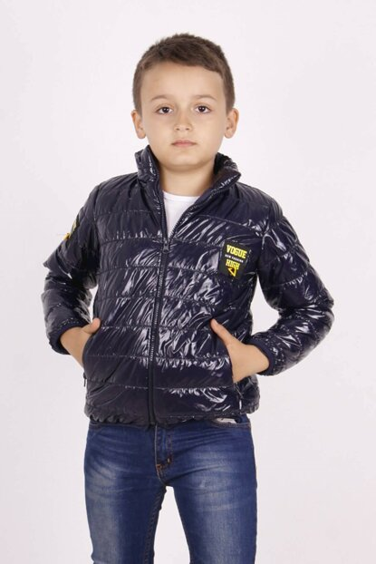 Boys' Leather Detailed Vogue Coat 13454-