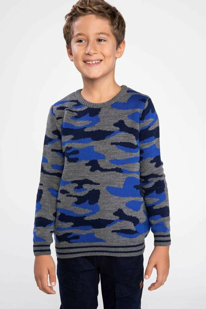 Gray Young Man Camouflage Pattern Knitwear Sweater J4735A6.18WN.GR228