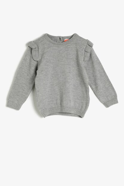Gray Girls' Crew Neck Pullover 0KMG99226OT