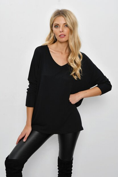 Women's Black Bat Sleeve Loop Blouse TZ73
