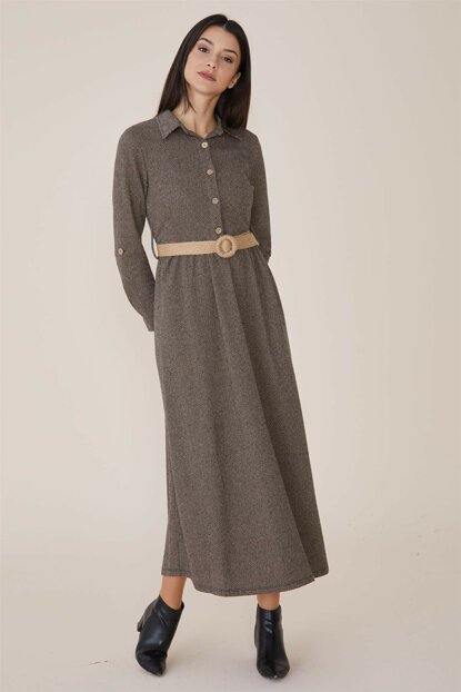 Women's Brown Dress Nassah-MPU-9W5863