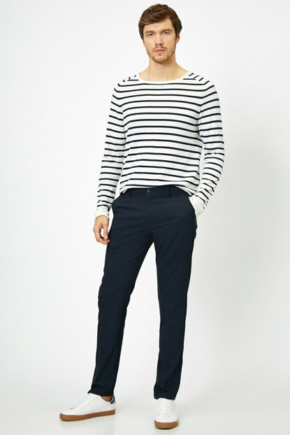 Men's Navy Blue Trousers 7YAP49646NW