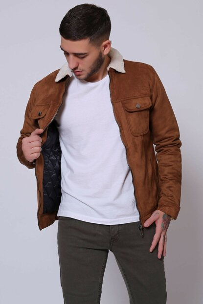 Zippered Suede Fur Taba Men's Jacket ke13384