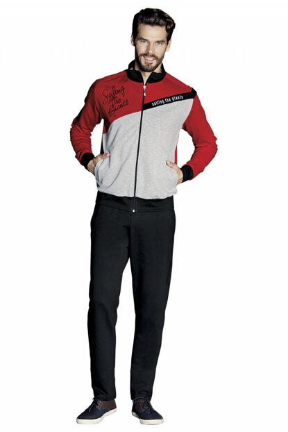 Men's Long Sleeve Pajamas Set with Zipper 5352 P65201S6006