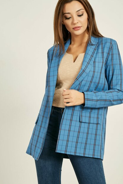 Sleeve Pleated Plaid Blazer - Indigo 20KCE245K106