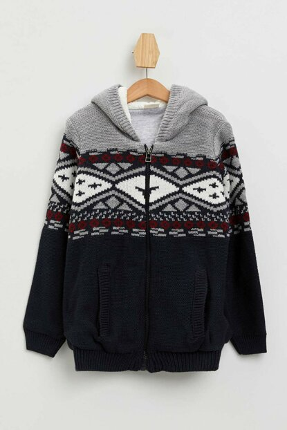 Hooded Jacquard Cardigan L0471A6.19AU.IN75