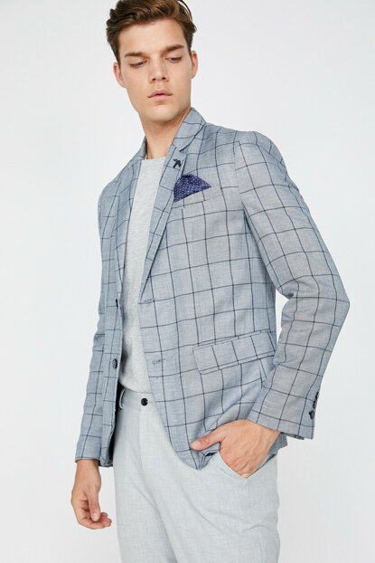 Men's Gray Plaid Jacket 8YAM51257NW