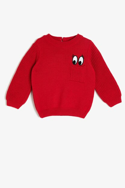 Red Girl Embroidered Sweater 0KMG99141HT