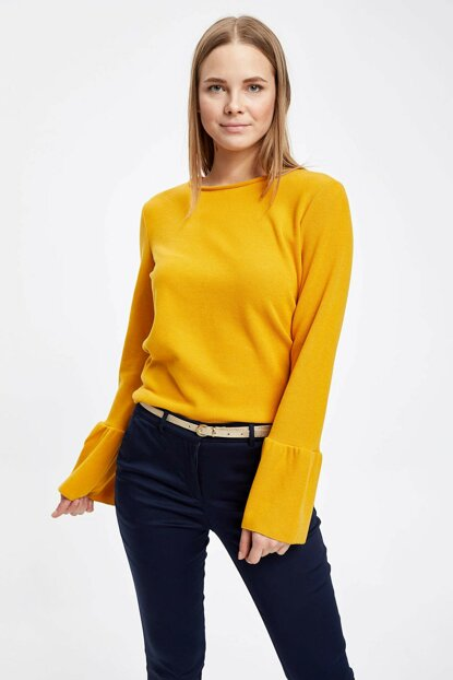 Women's Yellow Long Sleeve Sleeve Frilly T-Shirt K7235AZ.18CW.YL276