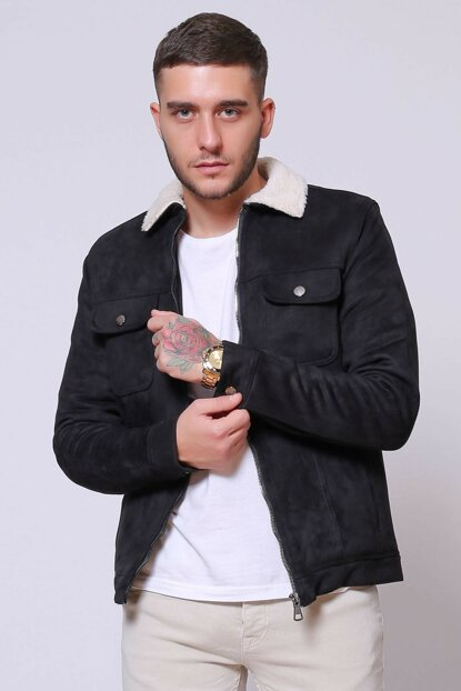 Zippered Suede Fur Black Men Jacket ke13384