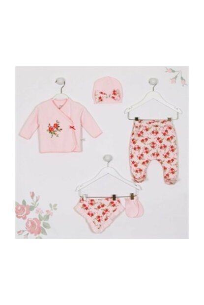 Imaj Rose Pattern Baby Girl 5li Hospital Outlet New Born Set IMJ-5-0631