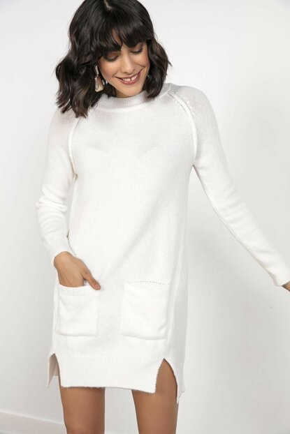 Women \ 's Bag Pocketed Sides Slit Lycra Knitwear Tunic Cream S-20K2800029