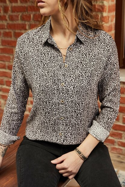 Women's Black Patterned Shirt 9YXK2-41971-02