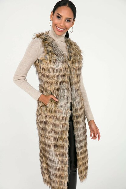 Women Camel Flecked Lined Pockets Long Imported Fur Vest S-20K3700006