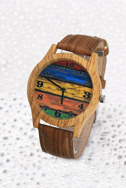 Colorful Case Brown Leather Watch Unisex Watch 8699000097206