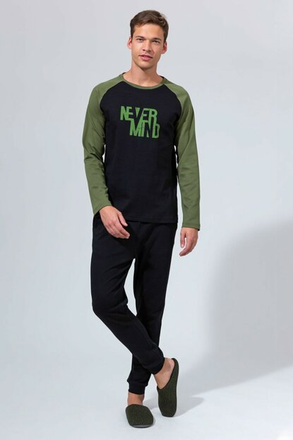 Men's Black - Green Interlock Printed O-Neck Ribana Long Sleeve Pajama Set E0219K0031