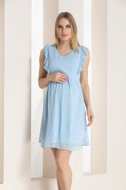 Gör & Sin Sleeves Ruffle Detailed Maternity Chiffon Dress Bebe Blue 8523Y