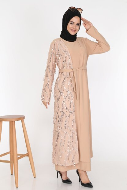 Sequined Double Abaya with Sequins Gilet & Jacket Combination ZRV5854