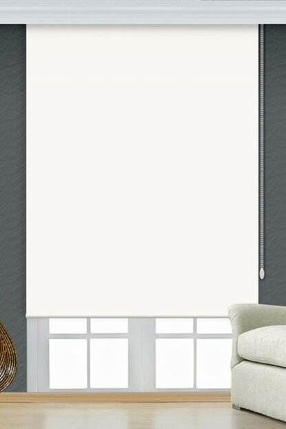 250x200 White Blackout Roller Blind Curtain with Puncture-Proof and Scratch-Proof A1004591