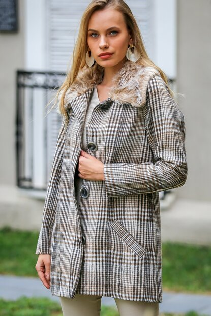 Women's Ecru-Coffee Vintage Plaid Patterned Plush Collar Giant Button Lined Pocketed Coat C10210200KA99918