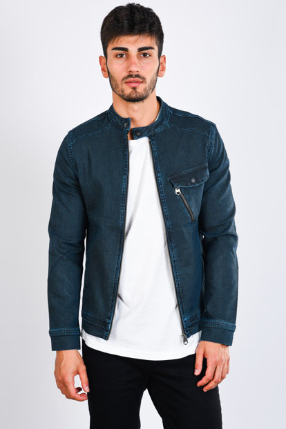 Men's Dark Blue Denim Jacket - 111459
