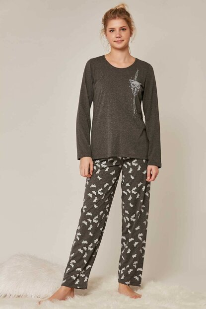 Women's Anthracite Long Sleeve Pajama Set 804273 Y19W137-8042731043