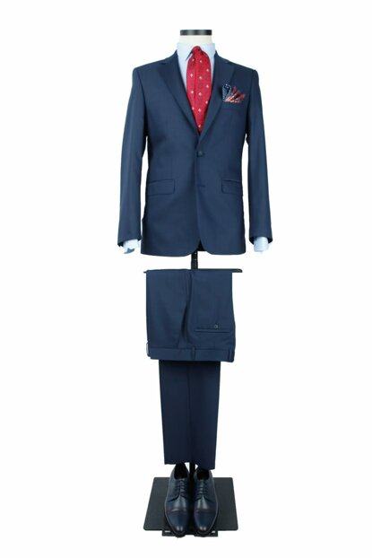 Men's Navy Blue Solid Color Regular Fit 6 Drop 15-366 Suit - 3C5Y0162D366ALC