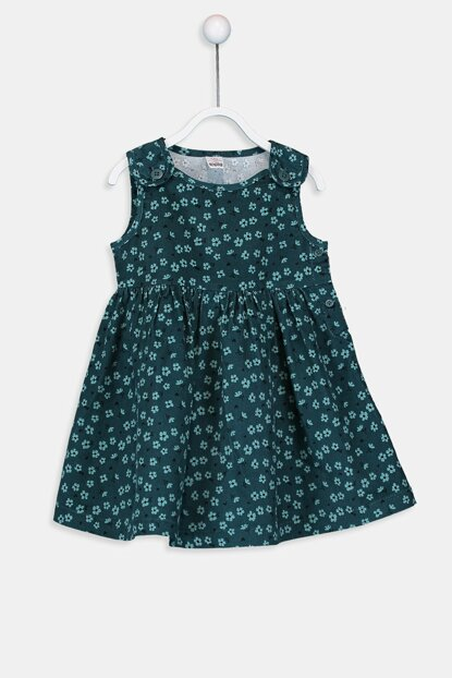 Baby Girl Green Printed Lrr Dress 9W2047Z1