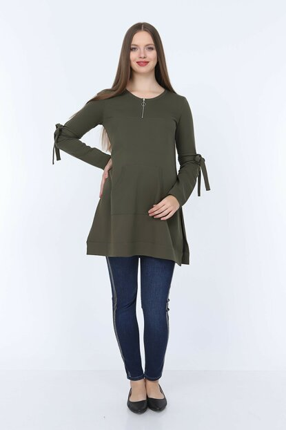 Gör & sin Sleeves Lace Detailed Pregnant Khaki Sweatshirt 8634