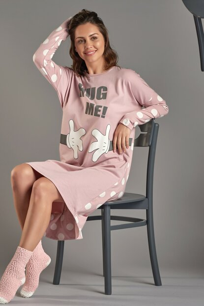 Women Rose Dried Printed Long Sleeve Nightgown 11386