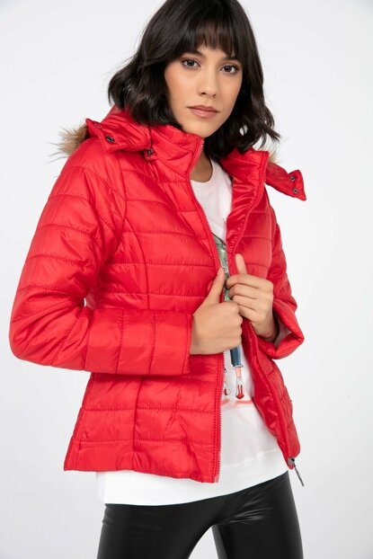 Women's Red Cap Furry Inflatable Coat S-20K2060011