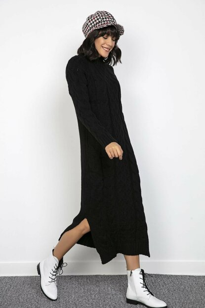 Women's Side Slash Hair Braided Lycra Sweater Dress BlackS-20K2800025