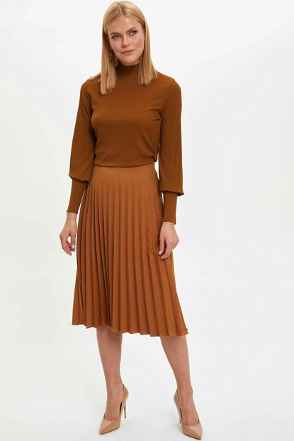 Women's Brown Pleated Midi Length Skirt M6428AZ.19WN.BN407