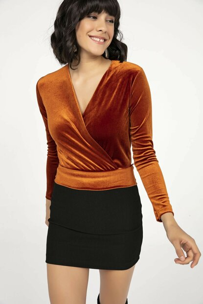 Women's Cinnamon Double Breasted Lapel Lycra Velvet Blouse Cinnamon S-20K2250004