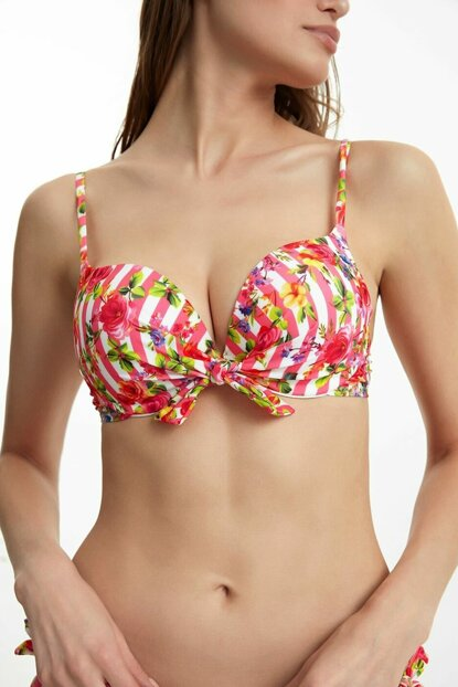 Women's Pink Striped Front Lace-up Bikini Top with Lace SB19640